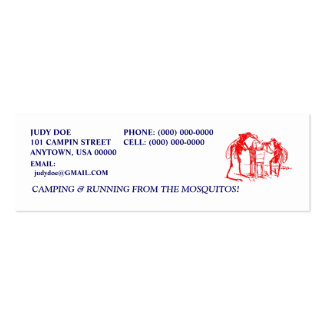 CAMPING CAMPER CAMP RED MOSQUITO CONTACT CARDS BUSINESS CARDS