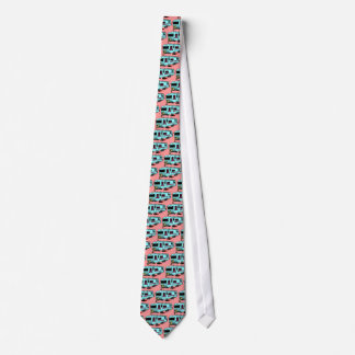 CAMPING CAMPER'S TRAVEL TRAILER BLUE ON CORAL NECK TIE