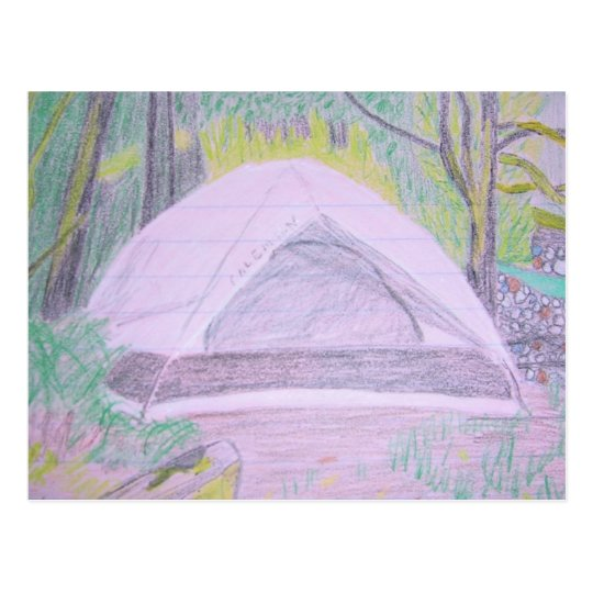Camping Drawing Postcard