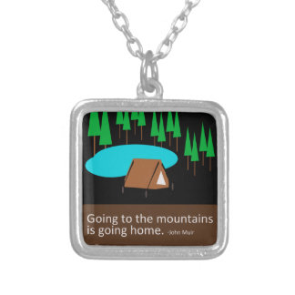 Camping Find your park old school ad design Silver Plated Necklace