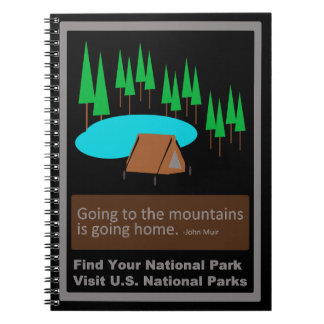 Camping Find your park old school ad design Spiral Notebook