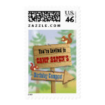 Camping forest postage stamp