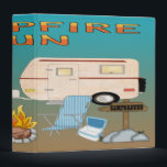 """Camping Fun 3-Ring Binder<br><div class=""""desc"""">Features a brown and blue gradient background,  pine trees,  moon,  RV Camper,  grill and charcoal,  campfire,  beach chair,  cooler,  campground sign. Yellow and orange text is Campfire Fun. Makes a great scrapbook,  photo album,  Camping Fun notebook,  journal,  record book and more. Perfect gift for anyone who loves camping.</div>"""