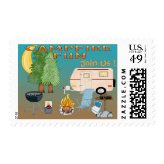 Camping Fun Invitations Postage Stamps