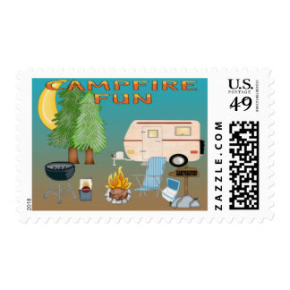 Camping Fun Postage Stamps