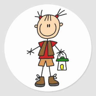 Camping Girl With Lantern Tshirts and Gifts Classic Round Sticker