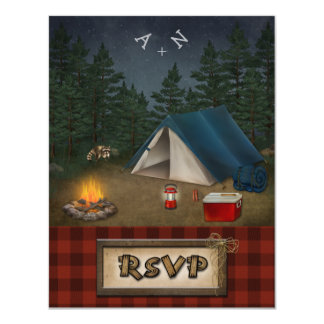 Camping Glamping Fishing Wedding RSVP Card Invites