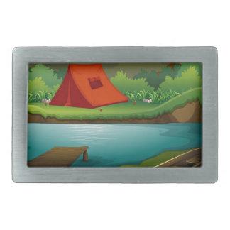Camping ground rectangular belt buckle
