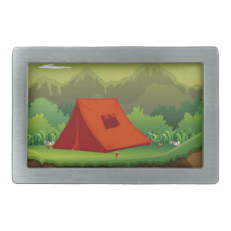 Camping ground with tent and boat belt buckle