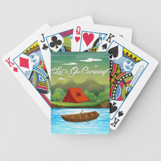 Camping ground with tent and boat bicycle playing cards