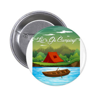 Camping ground with tent and boat button