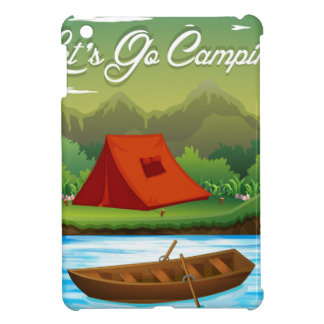 Camping ground with tent and boat iPad mini cover