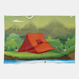 Camping ground with tent and boat kitchen towel