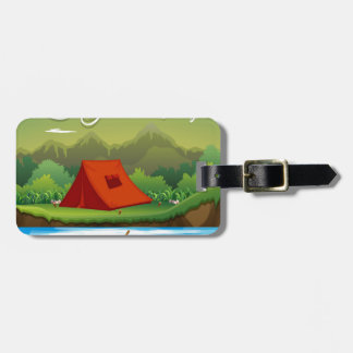 Camping ground with tent and boat luggage tag