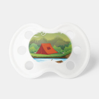 Camping ground with tent and boat pacifier