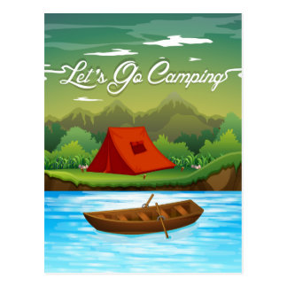 Camping ground with tent and boat postcard