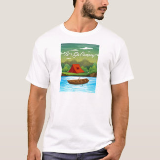 Camping ground with tent and boat T-Shirt