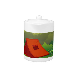 Camping ground with tent and boat teapot