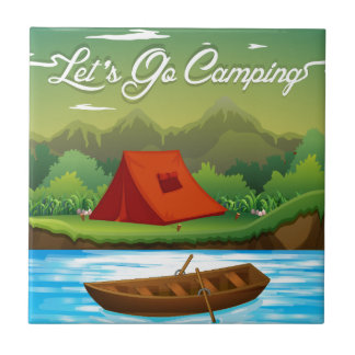 Camping ground with tent and boat tile