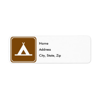 Camping Highway Sign Label