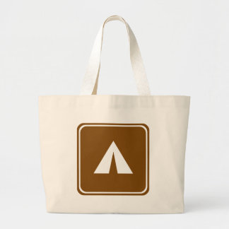 Camping Highway Sign Large Tote Bag