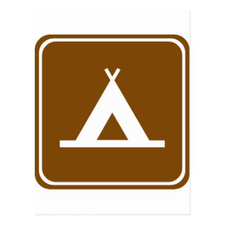 Camping Highway Sign Post Card
