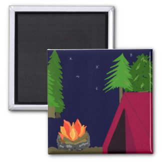 Camping in a Tent 2 Inch Square Magnet