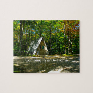Camping in an A-Frame Cabin Jigsaw Puzzle