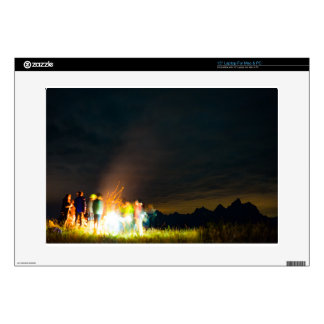 """Camping in front of the Teton Range 15"""" Laptop Decal"""