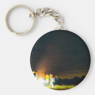Camping in front of the Teton Range Basic Round Button Keychain