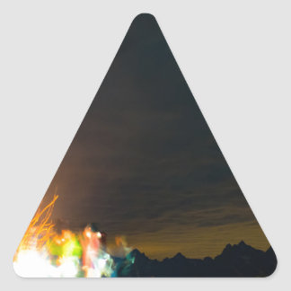 Camping in front of the Teton Range Triangle Sticker