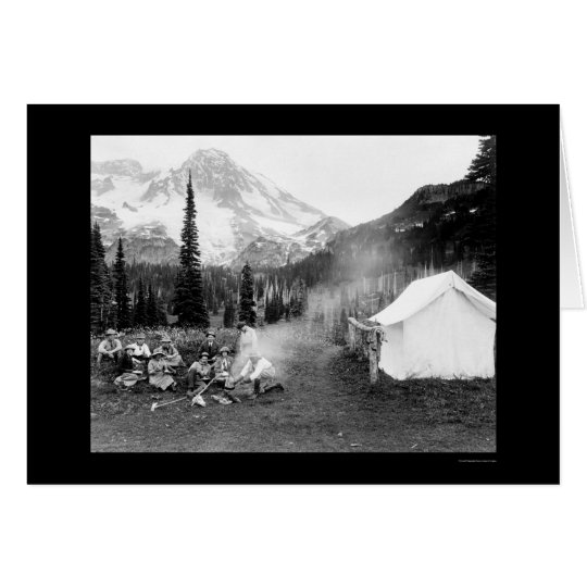 Camping in Indian Henry, Mount Rainier, WA 1922 Card