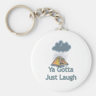 Camping in the Rain Keychain