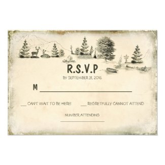 Camping in the woods Wedding RSVP cards