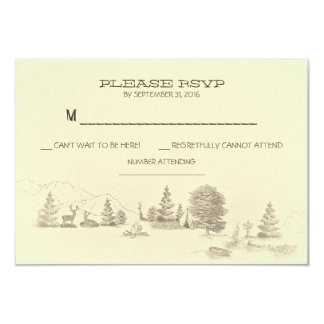 """Camping in the woods Wedding RSVP cards 3.5"""" X 5"""" Invitation Card"""
