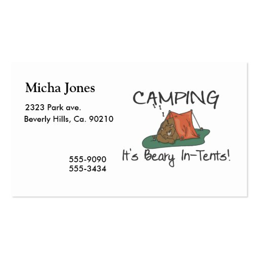 Camping is beary in tents double sided standard business for Tent business cards