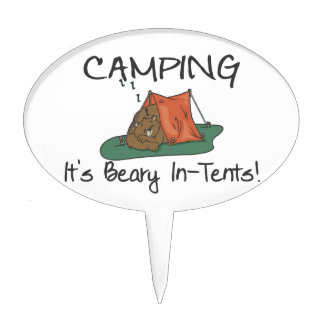 Camping Is Beary In Tents Cake Picks