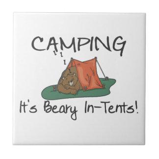 Camping Is Beary In Tents Ceramic Tile