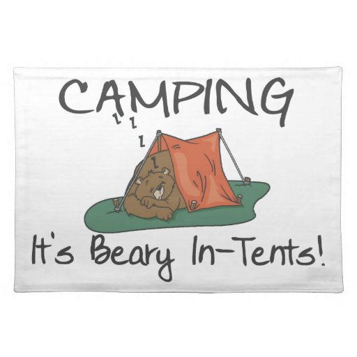 Camping Is Beary In Tents Cloth Placemat