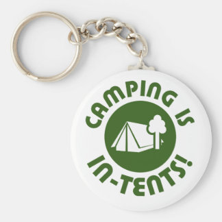 Camping is in tents basic round button keychain