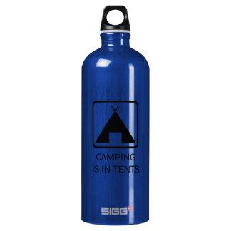 Camping is In-Tents Bottle, Black Design Aluminum Water Bottle