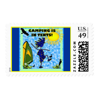 Camping Is In Tents Design Postage