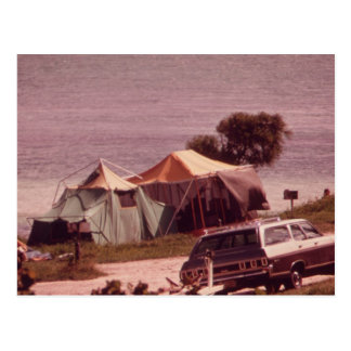 Camping Is In Tents! - Vintage Postcard