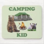 Camping Kid Bear Mouse Pad