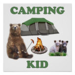 Camping Kid Bear Posters