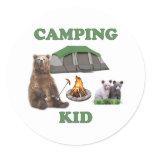 Camping Kid Bear Round Sticker