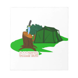 Camping knife and tent notepad