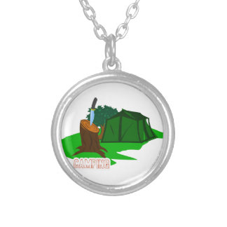 Camping knife and tent silver plated necklace