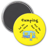 Camping Let The Beer Flow 3 Inch Round Magnet
