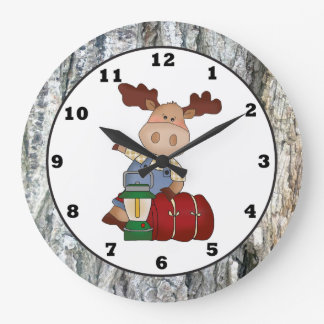 Camping Moose cartoon wall clock